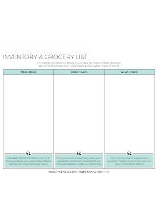 Inventory and Grocery List