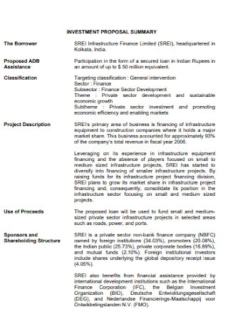 Investment Proposal Summary Template