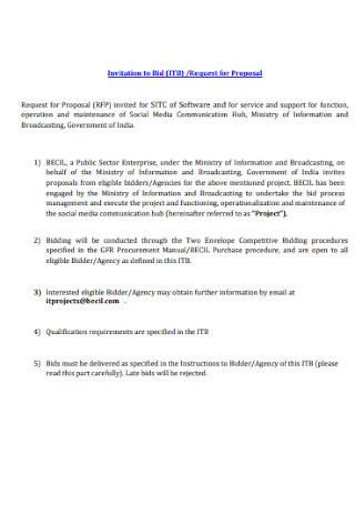 Invitation to Bid Proposal Example