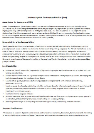 Job Description for Proposal