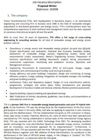 Job Vacancy Proposal Template