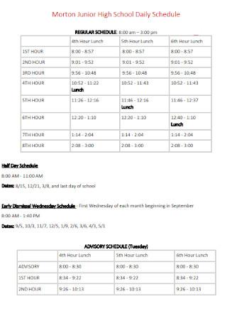 Junior High School Daily Schedule