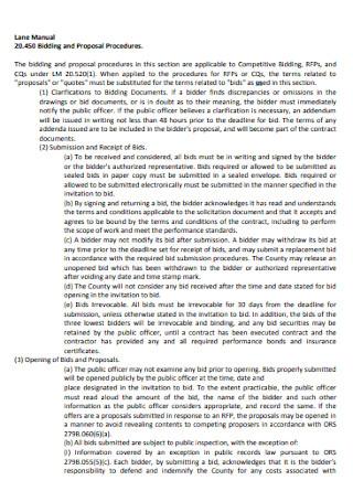 Lane Bid Proposal Template