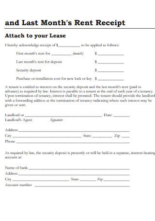 Last Months Rent Receipt Form