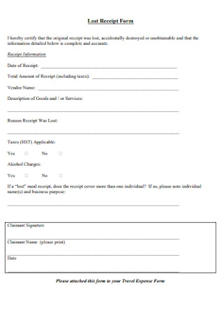 Lost Receipt Form