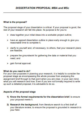 MBA Dissertation Proposal Template