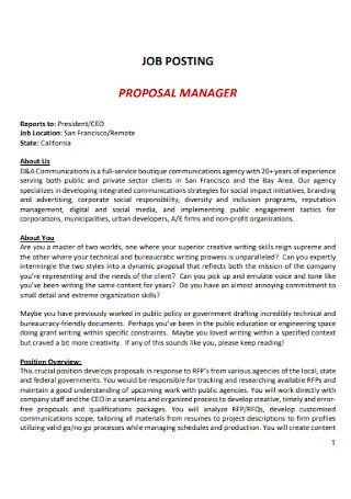 Manager Job Proposal Template