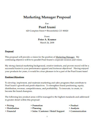 Marketing Manager Proposal