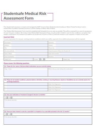Medical Risk Assessment Form