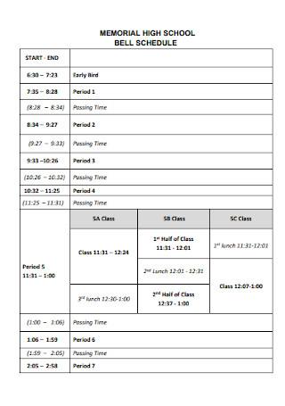 Memorial High School Bell Schedule