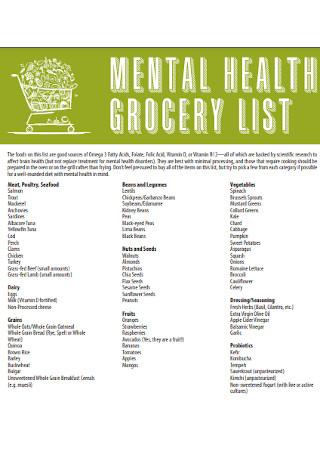 Mental Health Grocery List