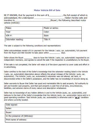 Motor Vehicle Bill of Sale Receipt