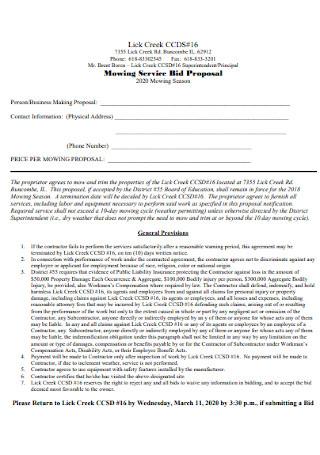 Mowing Service Bid Proposal