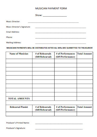 Musician Payment Form