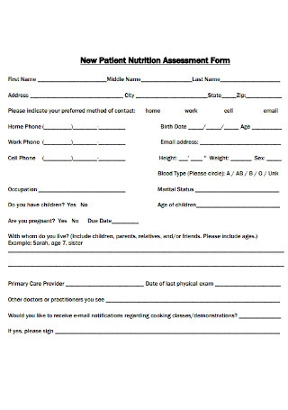 New Patient Nutrition Assessment Form