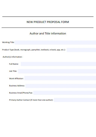 New Product Proposal Form