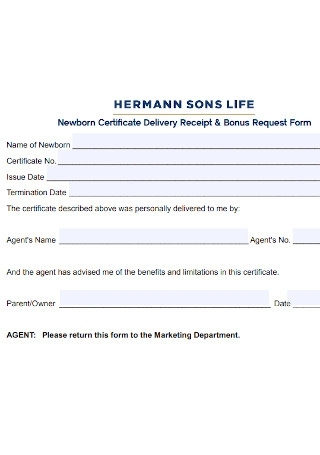 Newborn Certificate Delivery Receipt