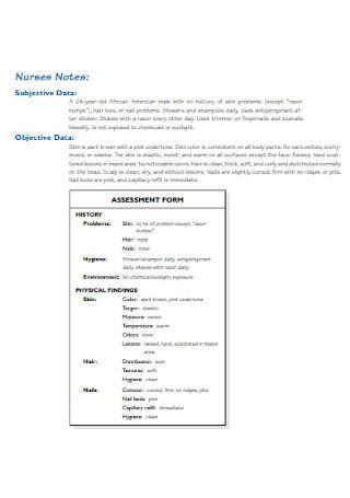 Nurses Assessment Note Templates
