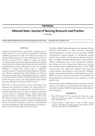 Nursing Research Note Template