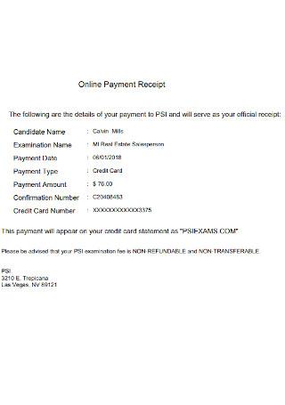 Official Online Payment Receipt