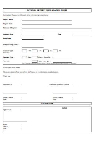 Official Receipt Preparation Form