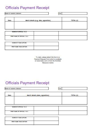 Officials Payment Receipt