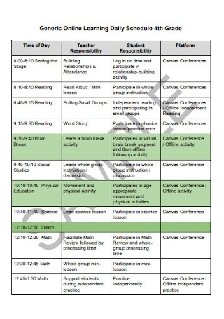 Online Learning Daily Schedule