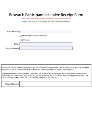 Participant Incentive Receipt Form