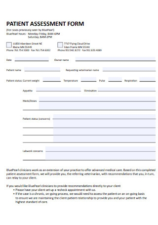 Patient Assessment Form Template