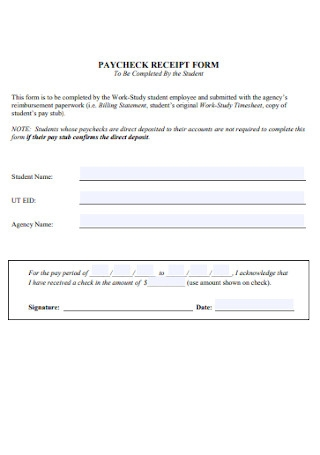 Paycheck Receipt Form