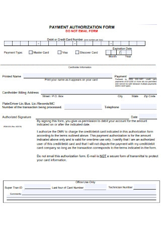 Payment Authorizatiion Form