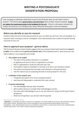 Postgraduate Dissertation Proposal