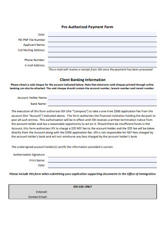 Pre‐Authorized Payment Form