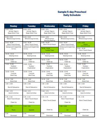 Pre school Daily Schedule