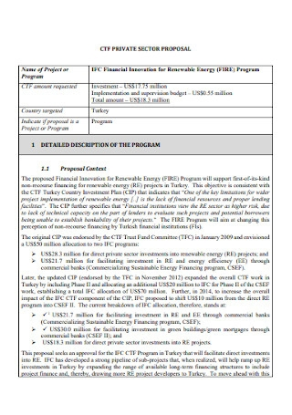 Private Sector Investment Proposal