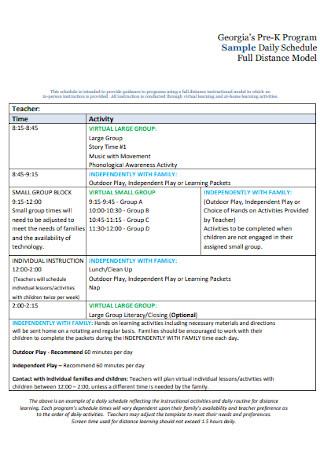 Program Daily Schedule