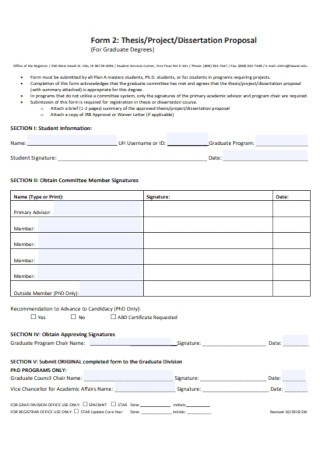 Project Dissertation Proposal Template