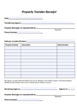 Property Transfer Receipt Form