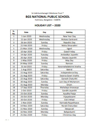 Public School Holiday List