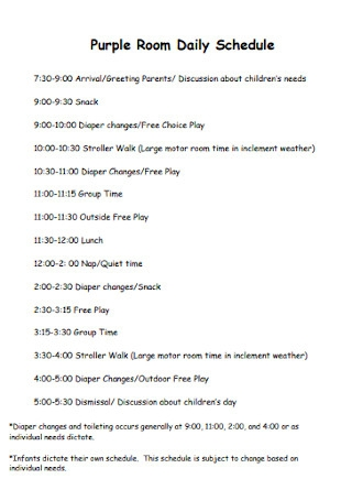 Purple Room Daily Schedule