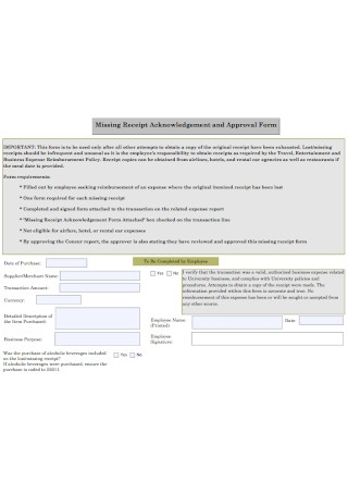 Receipt Acknowledgement and Approval Form