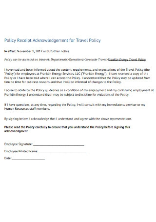 Receipt Acknowledgement for Travel Policy