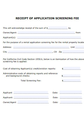 Receipt for Applicstion Screening Fee