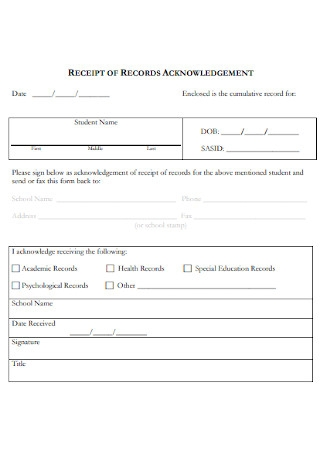 Receipt of Records Acknowledgement