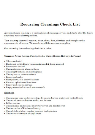 Recurring Cleanings Check List