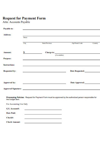 Request for Payment Form