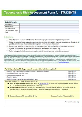 Risk Assessment Form for Students