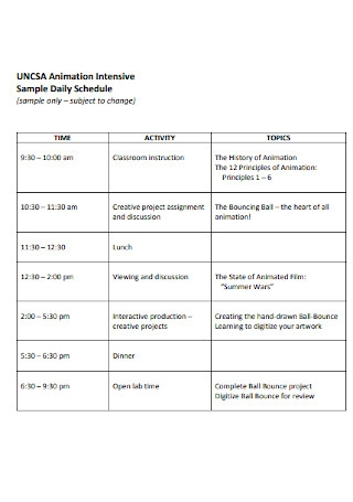 Sample Animation Daily Schedule