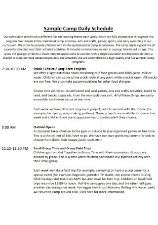 Sample Camp Daily Schedule
