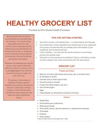 Sample Healthy Grocery List